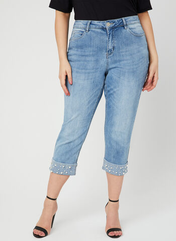 Signature Fit Straight Leg Capris, Blue, hi-res,  denim, jeans, capris