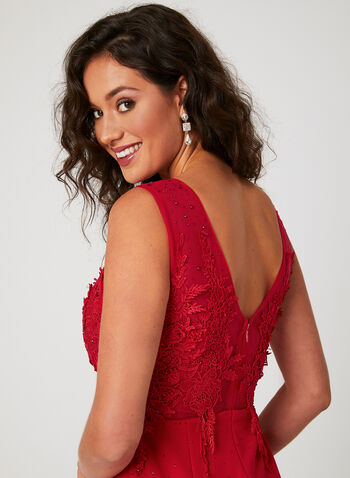 Illusion Neck Mermaid Dress, Red, hi-res
