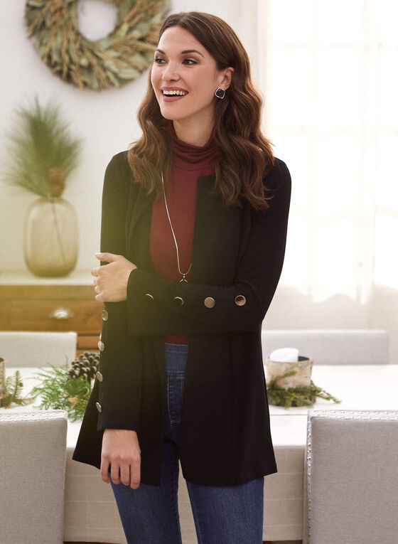 Open Front Flared Sleeve Top, Black