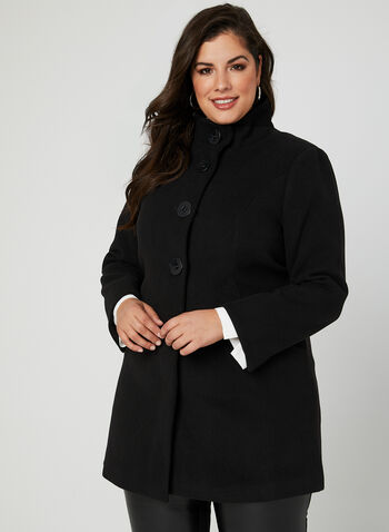 Faux Wool Stand Collar Coat, Black, hi-res