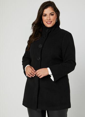 Manteau imitation laine à gros boutons, Noir, hi-res