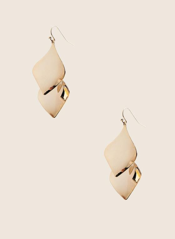 Metallic Leaf Earrings, Gold