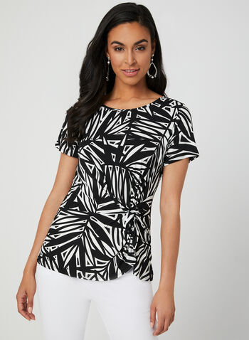 Abstract Print Jersey Top, Black, hi-res,  Canada, top, jersey, short sleeves, abstract print, spring 2019, summer 2019
