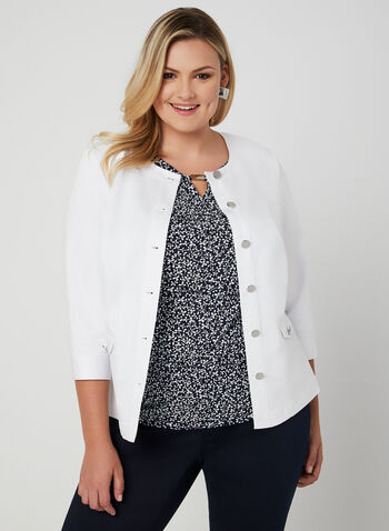 ¾ Sleeve Button Down Jacket, White, hi-res