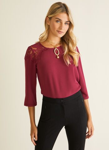 3/4 Sleeve Lace Shoulder Blouse, Purple,  top, blouse, lace, crepe, keyhole, 3/4 sleeves, fall winter 2020