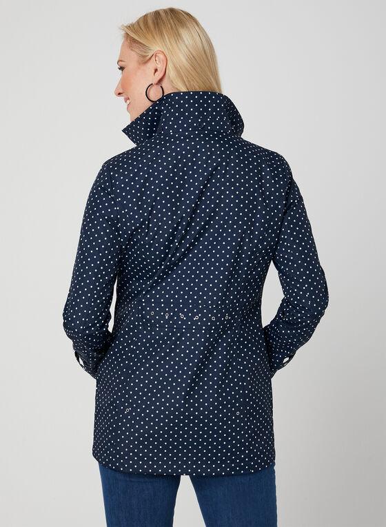 Weatherproof - Polka Dot Print Raincoat, Blue, hi-res