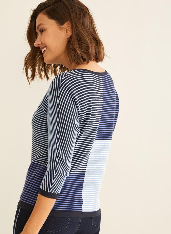 Striped Colour Block Sweater, Blue
