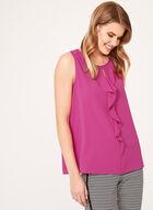 Sleeveless Ruffled Front Blouse, Pink, hi-res