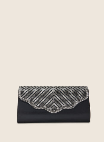 Crystal Flap Clutch, Black,  clutch, metallic clutch, evening clutch, scalloped, spring 2020, summer 2020