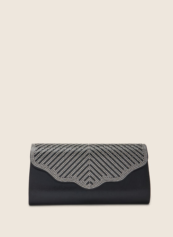 Crystal Flap Clutch, Black