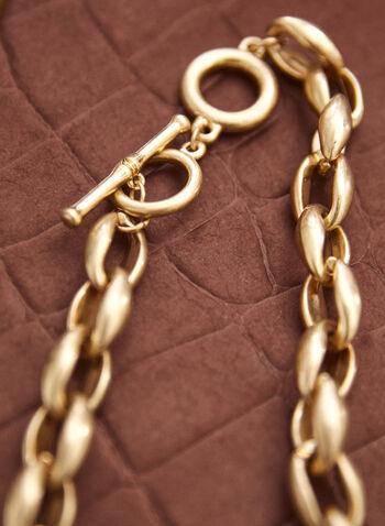 Collier court à maillons dorés, Or,  accessoire, bijou, collier, maillons, court, dorés, fermoir bûchette, automne 2021
