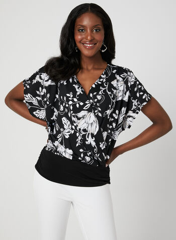 Surplice Neckline Top, Black, hi-res