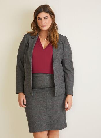 Tartan Print Notched Collar Jacket, Red,  jacket, notched collar, tartan print, fall winter 2020