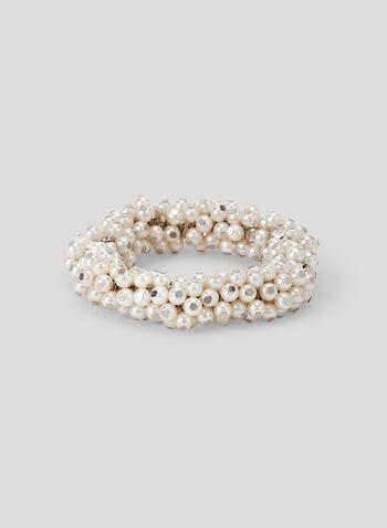 Pearl Cluster Stretch Bracelet, Off White, hi-res