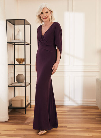 Cowl Sleeve V-Neck Gown, Purple,  dress, evening, cowl, drape, gown, v-neck, wrap, column, jersey, spring summer 2021