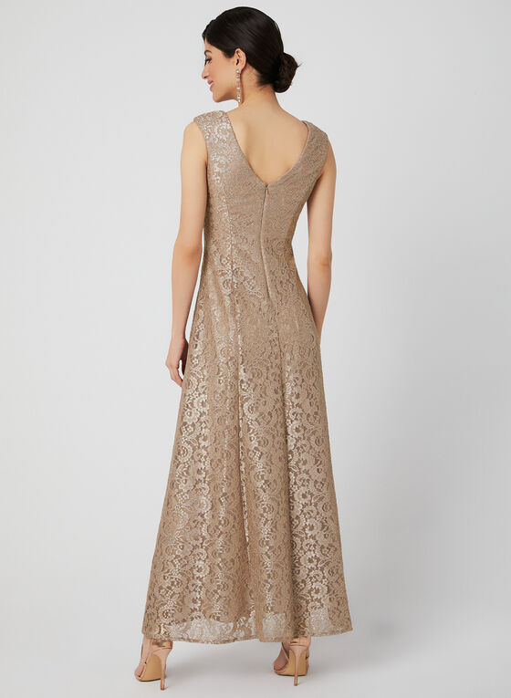 Jessica Howard - Glitter Lace Dress, Brown