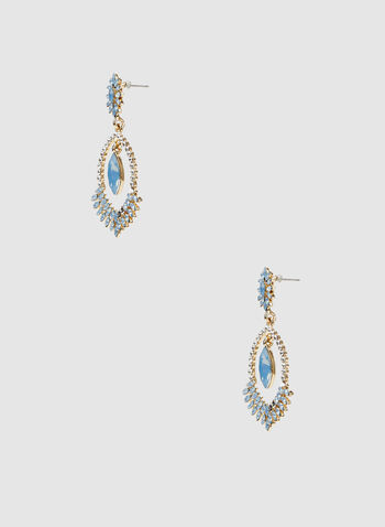 Tiered Crystal Dangle Earrings, Blue, hi-res