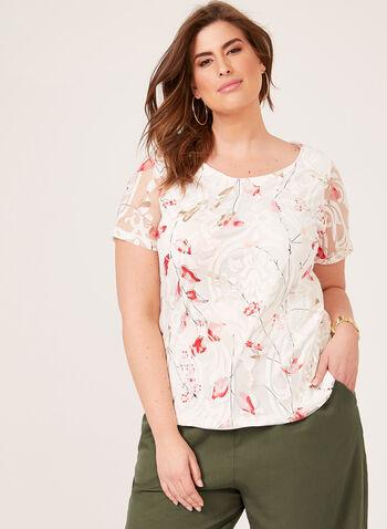 Mesh Overlay T-Shirt, White, hi-res