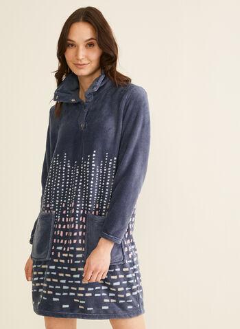 Karmilla Lingerie - Chemise de nuit en peluche, Rose,  chemise de nuit, col montant, peluche, carrés, boutons-pression, poches, automne hiver 2019