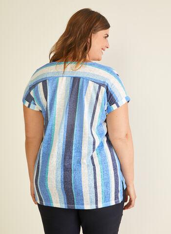 Stripe Print Linen Blend Tee, Blue,  t-shirt, linen blend, stripe, henley, spring summer 2020