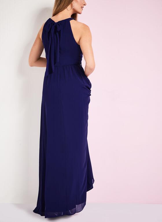 Robe de soirée col rond froncé, Bleu, hi-res