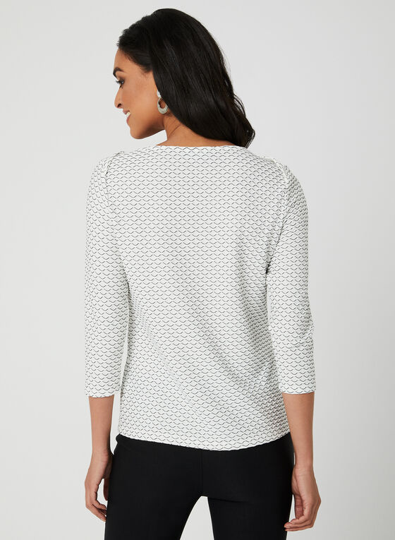 Textured Boat Neck Top, White, hi-res