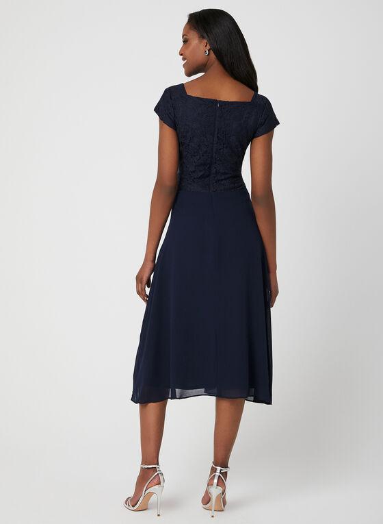 Glitter Lace Fit & Flare Dress, Blue, hi-res