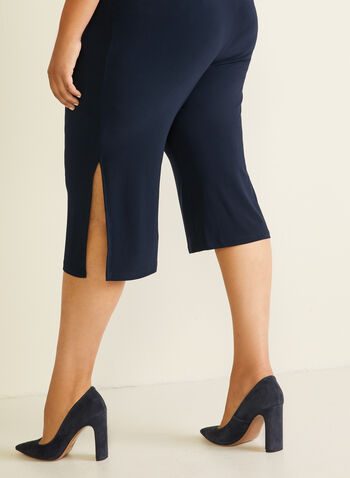Wide Leg Side Slit Capris, Blue,  capris, pull-on, jersey, slit, wide leg, spring summer 2020
