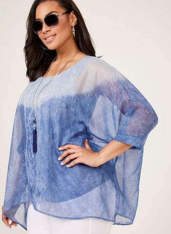 Chambray Poncho Blouse, Blue, hi-res