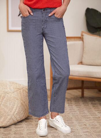 Charlie B - Pantalon en denim à rayures, Bleu,  pantalon, charlie b, taille mi-haute, jambe droite, bouton, glissière, ganses pour ceinture, poches, motif rayures verticales, denim extensible, jean, printemps été 2021