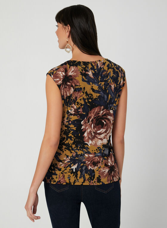Flower Print Sleeveless Top, Brown, hi-res