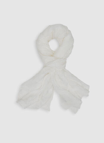 Pleated Lightweight Scarf, White, hi-res,  spring 2019, pashmina, wrap