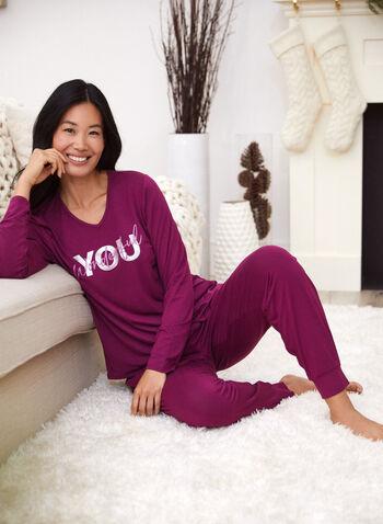 Haut de pyjama à col en V et message, Violet,  automne 2021, haut, pyjama, vêtement de nuit, col en V, encolure en V, manches longues, message, imprimé, matière, tissu, doux, extensible, plus