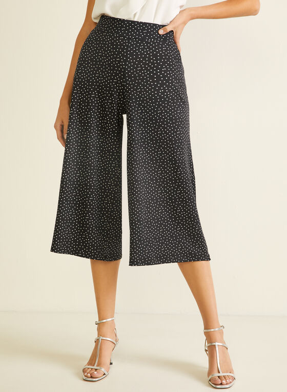 Dotted Print Gaucho Pants, Black