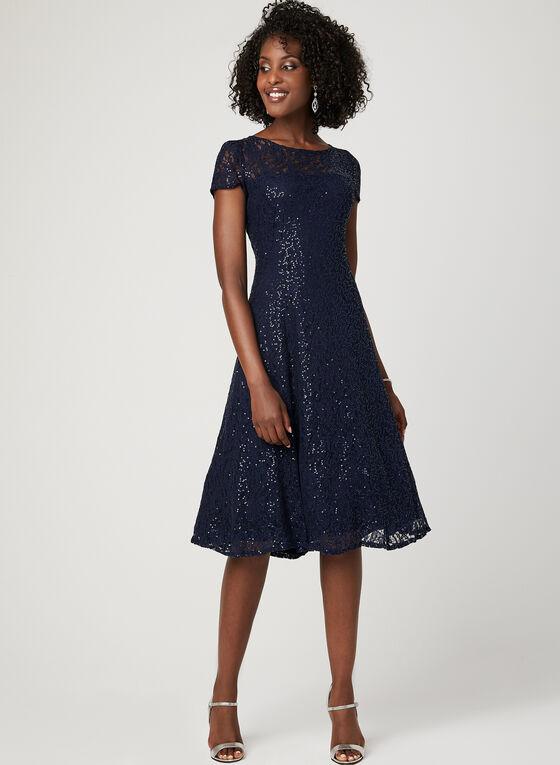 Sequin Lace Fit & Flare Dress, Blue, hi-res