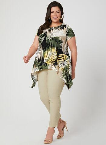 Tunique asymétrique à imprimé tropical, Noir, hi-res,  Canada, jersey, motif, feuilles, fleurs, printemps été 2019, manches courtes