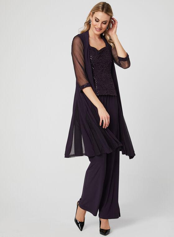 Three Piece Sequin Lace Pantsuit, Purple, hi-res