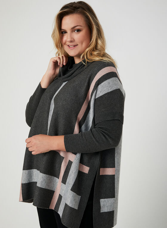 Cowl Neck Poncho Sweater, Black