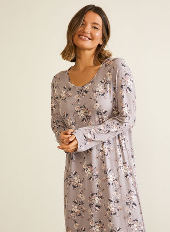 Floral Print Nightgown, Brown,  sleepwear, nightshirt, nightgown, floral, fall winter 2020