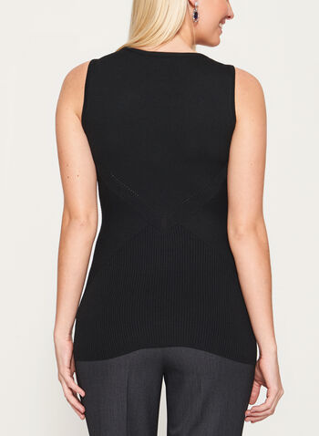 Sleeveless Rib Mitered Knit Tank, Black, hi-res