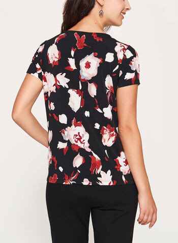 Abstract Floral Print Top, Black, hi-res