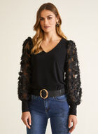 Embellished Mesh Sleeve Top, Black