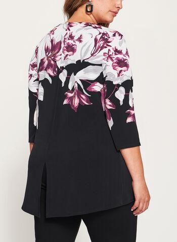 Tunique fleurie asymétrique à manches ¾, Noir, hi-res