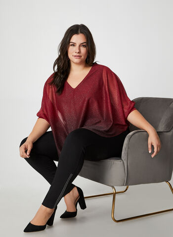Ombre Metallic Poncho Top, Red,  canada, metallic top, top, metallic, glitter top, glitter, poncho, v-neck, holiday, slit, fall 2019, winter 2019