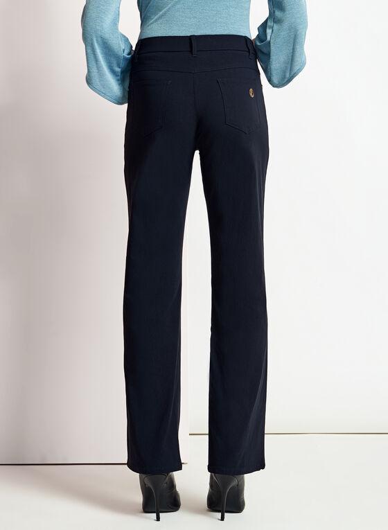 Simon Chang - Pantalon à jambe droite en microsergé, Bleu, hi-res