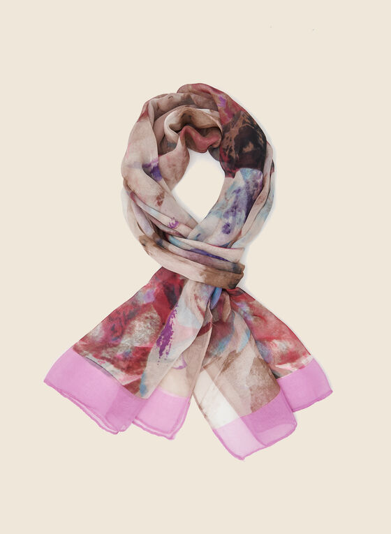 Floral Print Lightweight Scarf, Purple