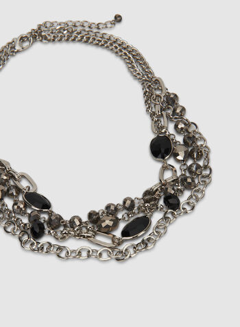 Beaded Necklace, Black, hi-res,  beads, chain, necklace, layered, multi-row, fall 2019, winter 2019