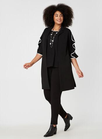 Open Front Sleeveless Vest, Black, hi-res,  canada, vest, top, collar, sleeveless, fall 2019, winter 2019