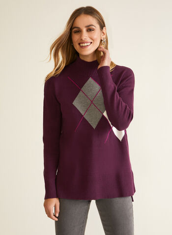 Argyle Mock Neck Sweater, Purple,  fall winter 2020, sweater, argyle, long sleeves, ribbed, knits, holiday
