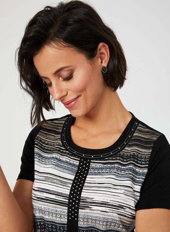 T-shirt rayé à détails en cristaux, Noir
